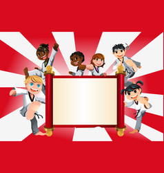 Karate kids banner vector