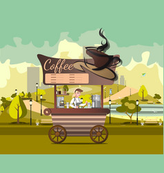 Kiosk tent or coffee shop with coffee maker in vector