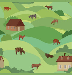 Livestock seamless pattern farm animals cows over vector