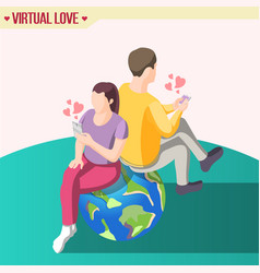 love across continents isometric composition vector image