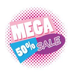 mega sale discounts poster memphis style vector image