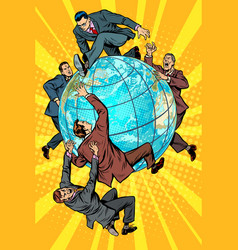 men politics are fighting on planet earth vector image