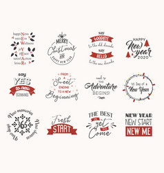 new year insparation greeting phrases calligraphy vector image
