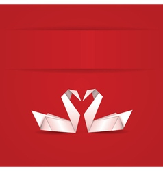 Origami swans on red background vector image