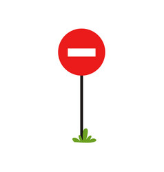 prohibitory road sign red circle with white vector image