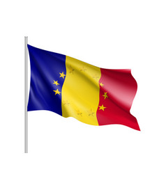Romania national flag with a star circle of eu vector