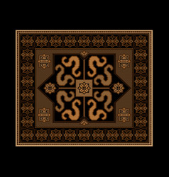 Rug in brown and black shades with pattern dragons vector