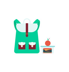 school bag stands near lunch box with sandwich and vector image