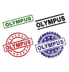 Scratched textured olympus stamp seals vector