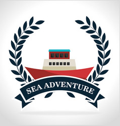 sea adventure label boat icon graphic vector image