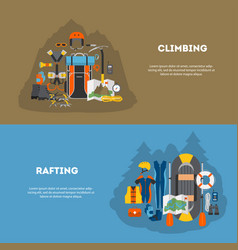 set flat banner equipment for climbing and rafting vector image