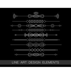 Set of line art border elements for design vector