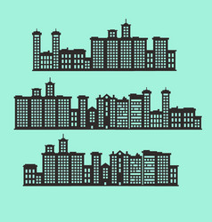 Set of silhouette buildings vector