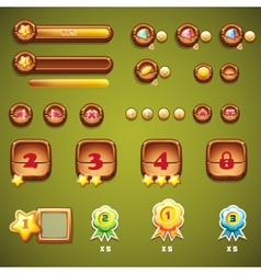 set wooden buttons progress bars and other vector image