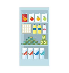 shelves with food products vector image
