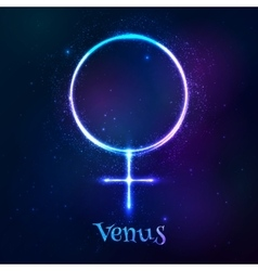 Shining blue neon astrological Venus symbol vector