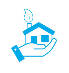 silhouette hand with house with ecological leaf to vector image