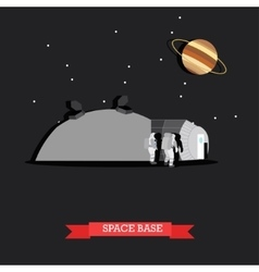 space base and astronauts vector image