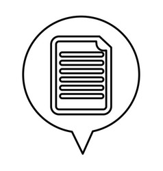 Speech bubble with paper document isolated icon vector