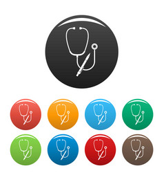 stethoscope pen icons set color vector image
