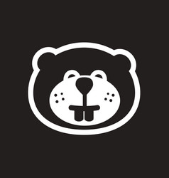 Stylish black and white icon canadian beaver vector