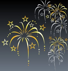 Stylized gold and silver fireworks vector