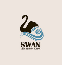 swan and waves icon vector image