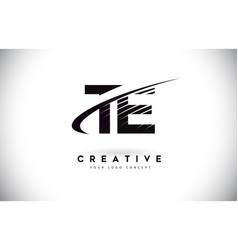 Te t e letter logo design with swoosh and black vector