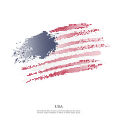 usa flag with halftone effect vector image