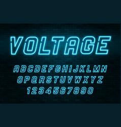 voltage neon light alphabet realistic extra vector image