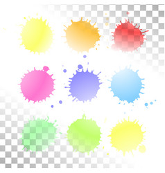 watercolor transparent stain set ink vector image