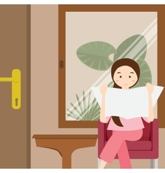 Woman reading newspaper sitting on chair vector