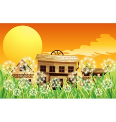 Wooden houses at the top of the hills vector