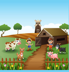 young farmers activities with animals front of cag vector image