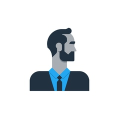 Business man in suit side view tured head office vector