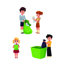 children collect rubbish garbage for recycling vector image