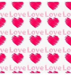 Hearts with the word love Seamless pattern vector image vector image