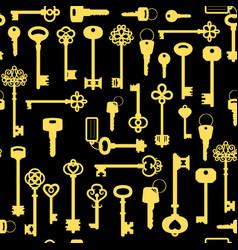 vintage golden key seamless pattern vector image vector image