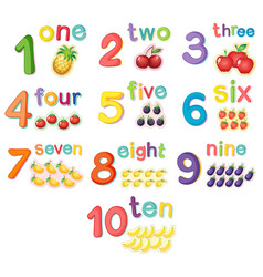counting numbers with fruits vector image vector image