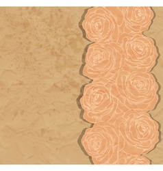 Vintage background rose in the corner of old paper vector image