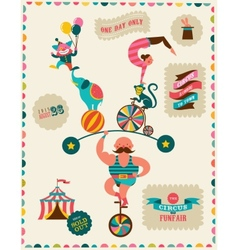 vintage poster with carnival fun fair circus vector image vector image