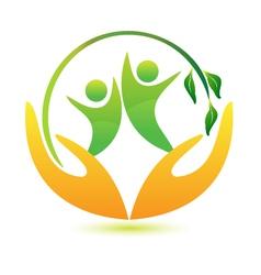 Healthy and happy people logo vector image vector image