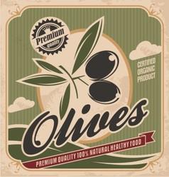 Retro olive poster design vector image vector image