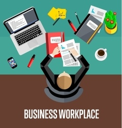 Top view business workplace in flat style vector image vector image