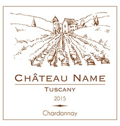 Vintage wine label with a hand drawn rural vector image