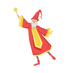 wizard holding a wand colorful fairy tale vector image