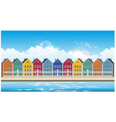 colorful townhouses vector image vector image