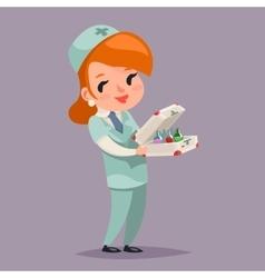 Cute Medic Nurse Doctor Character Retro Cartoon vector image vector image
