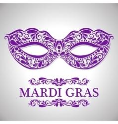 Mardi gras congratulation card with mask vector image