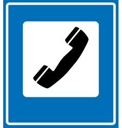 Phone sign on blue traffic sign vector